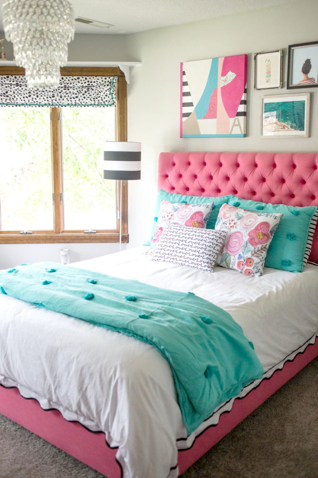 Pink and Turquoise Bedroom