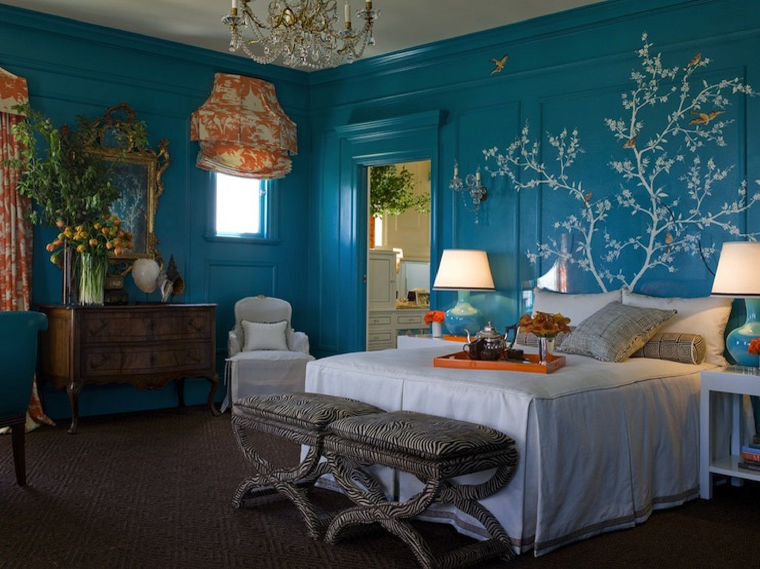 Traditional Turquoise Bedroom
