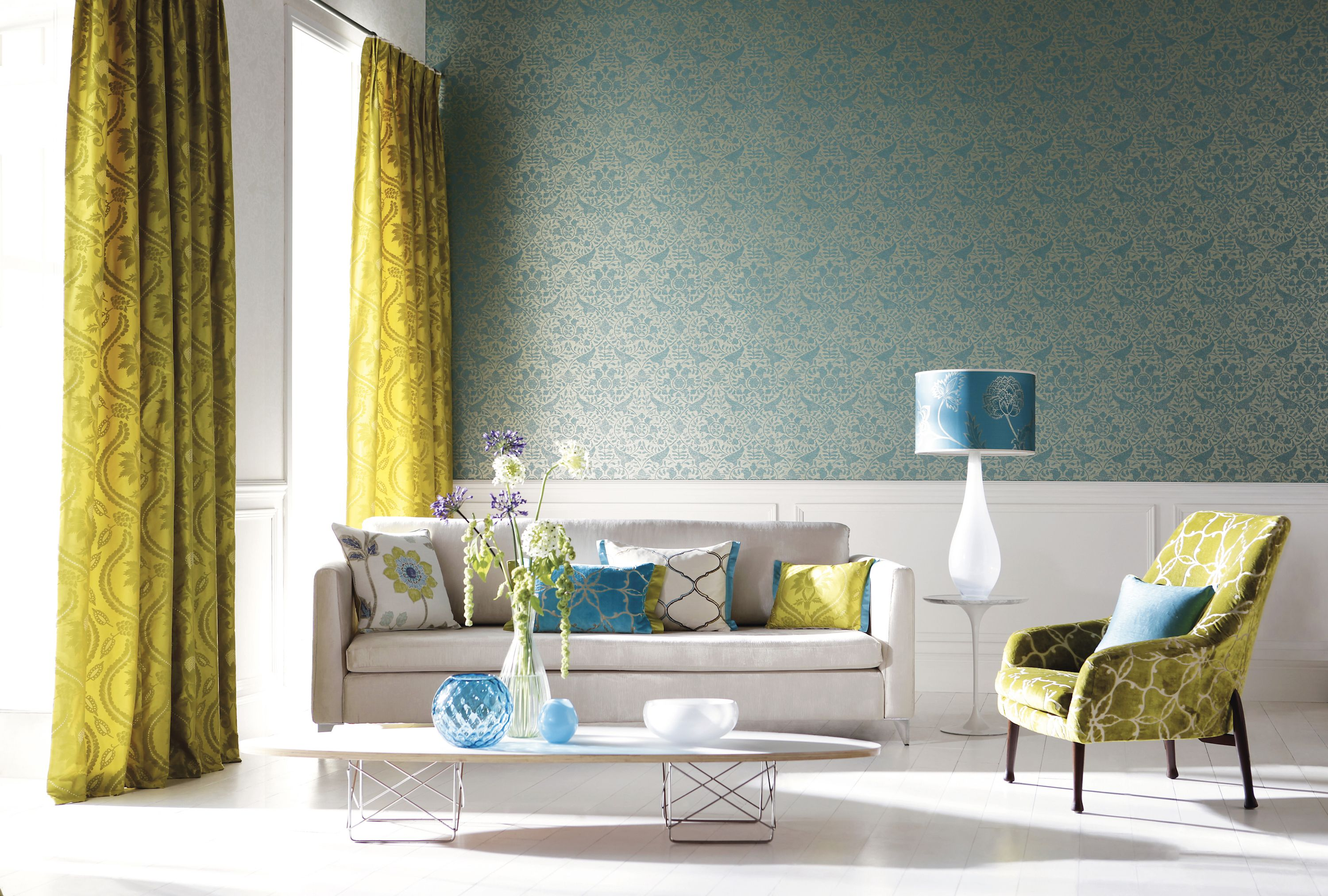 Turquoise Living Room Wallpaper