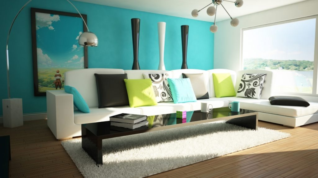 Contemporary Turquoise Living Room