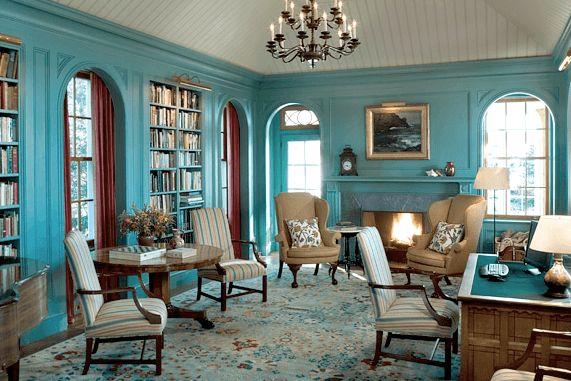 Classic White and Turquoise Living Room