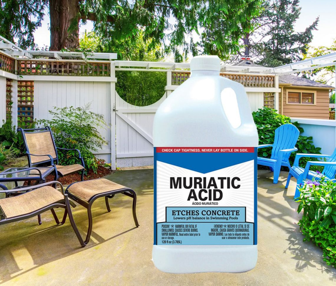 How to clean concrete patio without pressure washer - muriatic acid